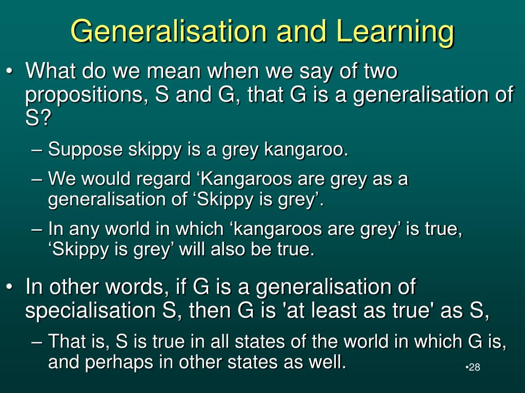 Generalisation and Learning