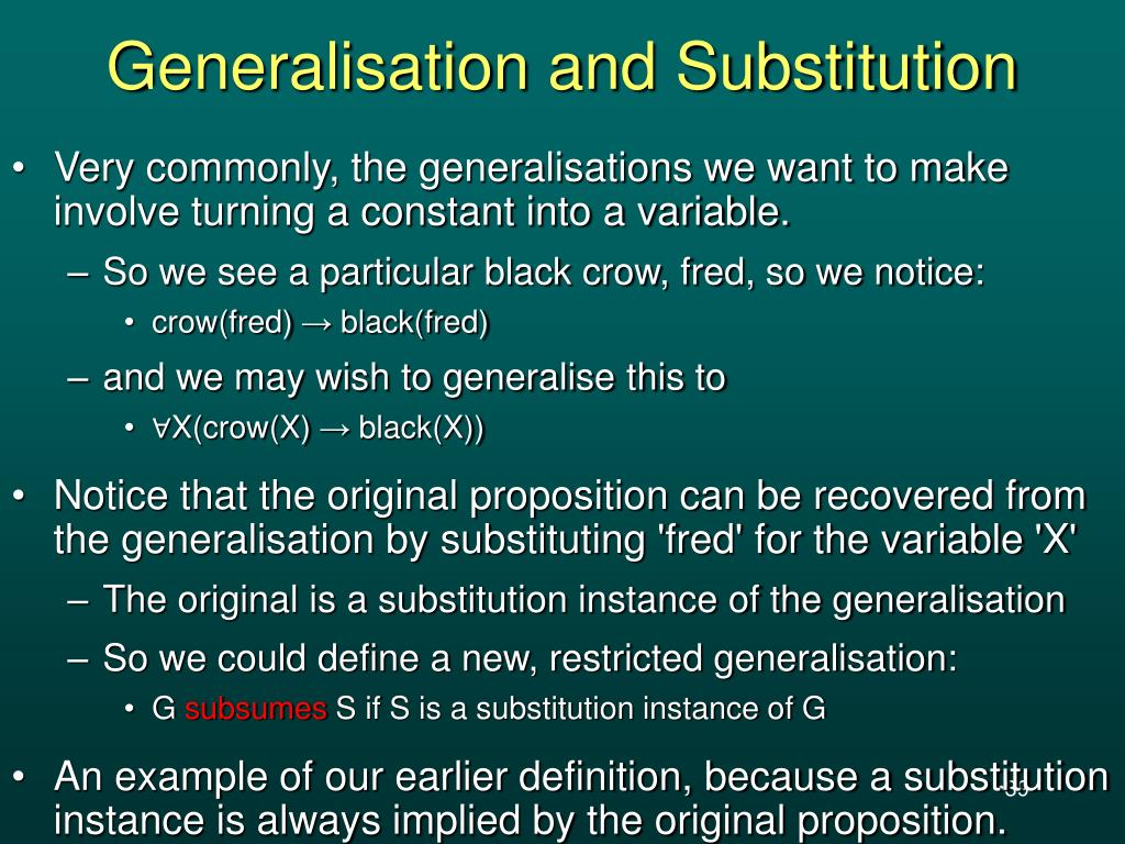 Generalisation and Substitution