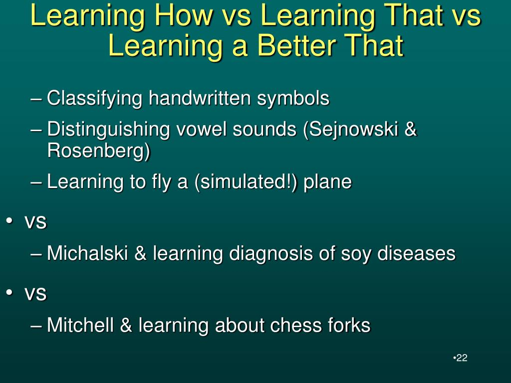 Learning How vs Learning That vs Learning a Better That