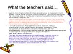 what the teachers said22