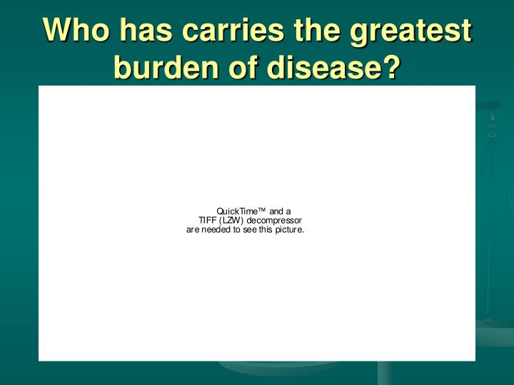 Who has carries the greatest burden of disease?