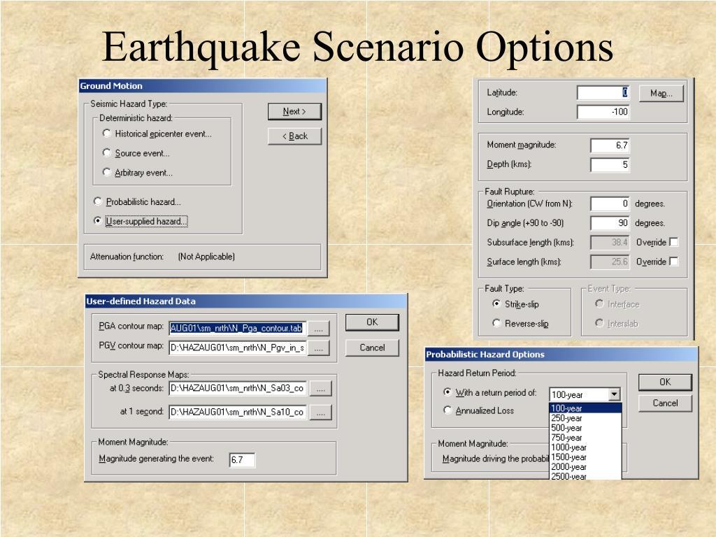 Earthquake Scenario Options
