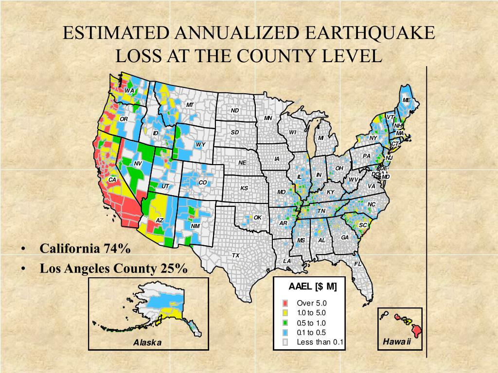 ESTIMATED ANNUALIZED EARTHQUAKE LOSS AT THE COUNTY LEVEL