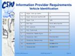 information provider requirements vehicle identification18
