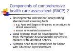 components of comprehensive health care assessment racp 2