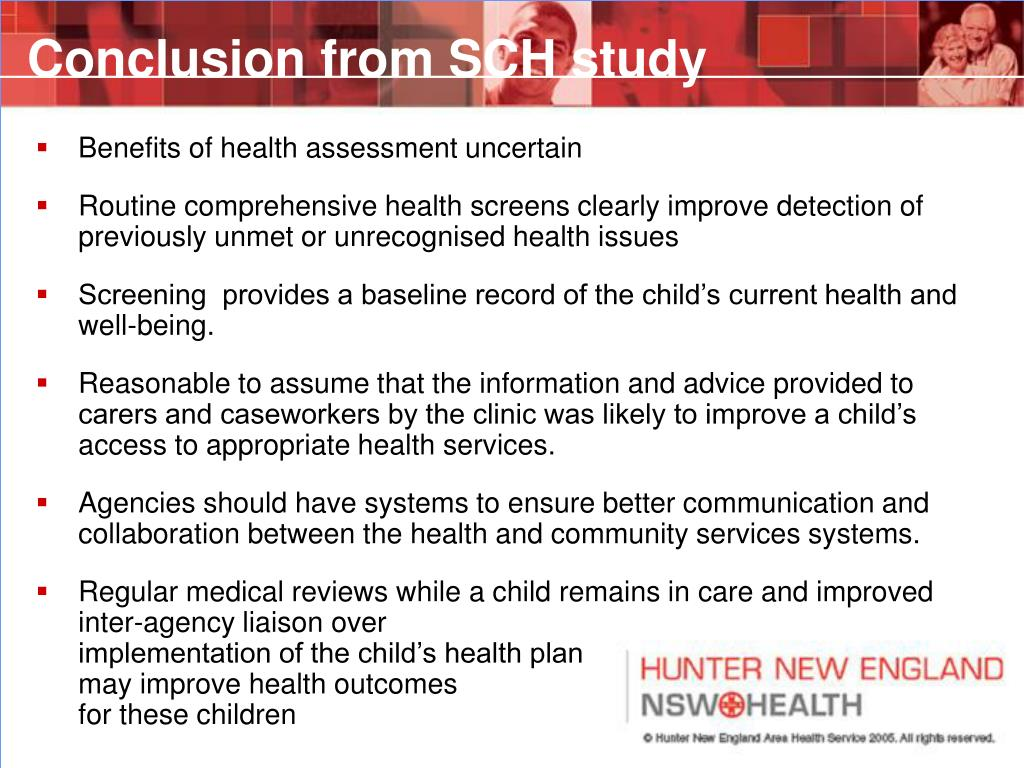 Conclusion from SCH study