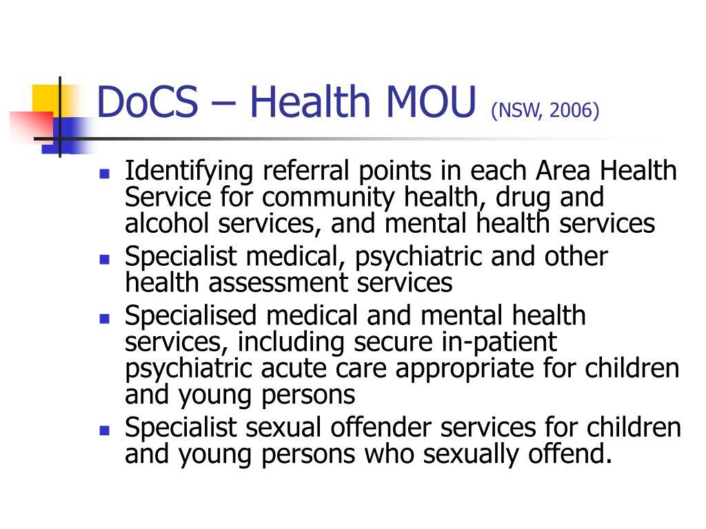 DoCS – Health MOU