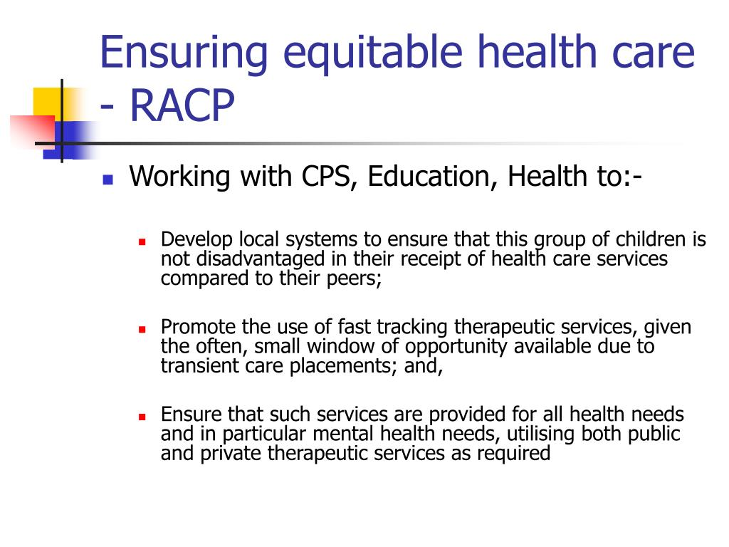 Ensuring equitable health care - RACP