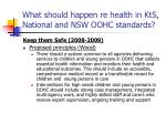 what should happen re health in kts national and nsw oohc standards29