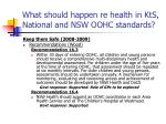 what should happen re health in kts national and nsw oohc standards30