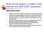 what should happen re health in kts national and nsw oohc standards34