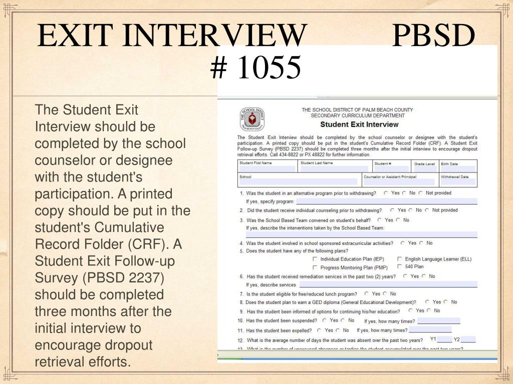 EXIT INTERVIEW          PBSD # 1055