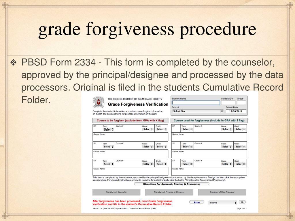 grade forgiveness procedure