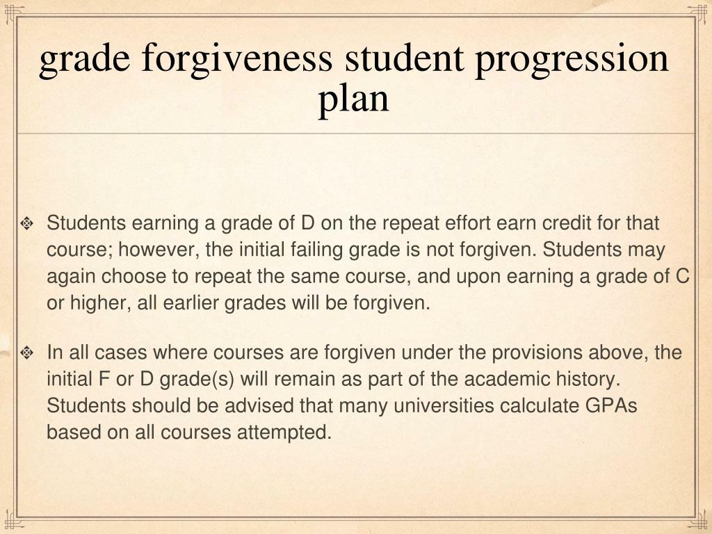 grade forgiveness student progression plan