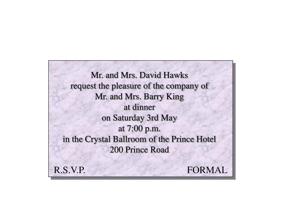 Mr. and Mrs. David Hawks