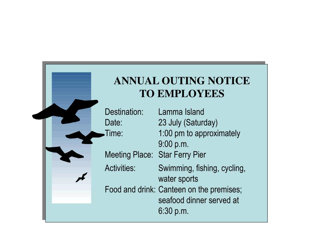 ANNUAL OUTING NOTICE