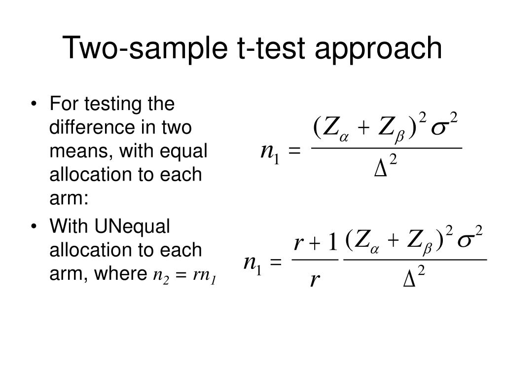 Two-sample t-test approach