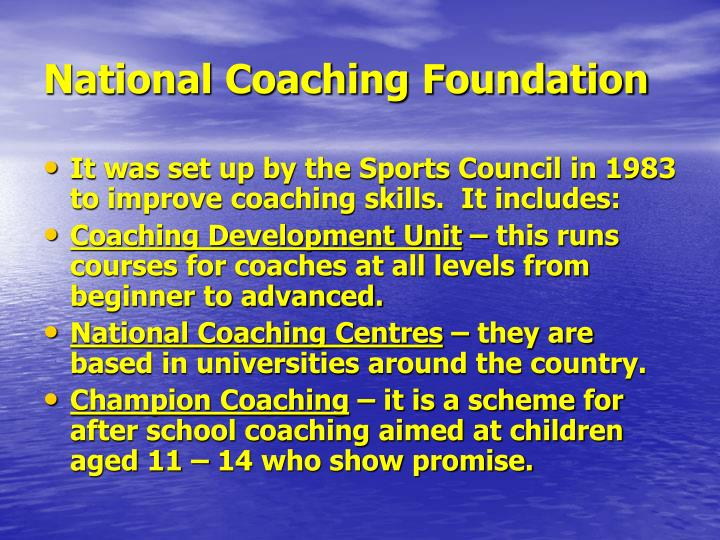 National coaching foundation