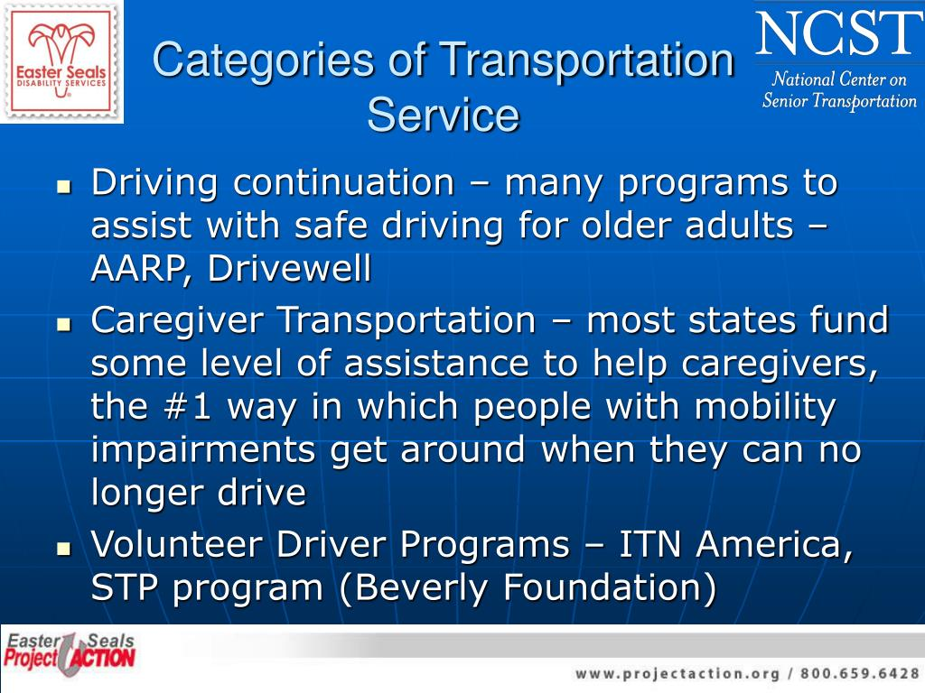 Categories of Transportation Service