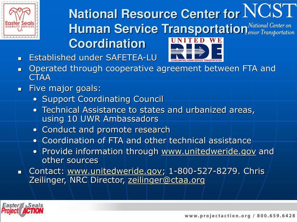 National Resource Center for Human Service Transportation Coordination