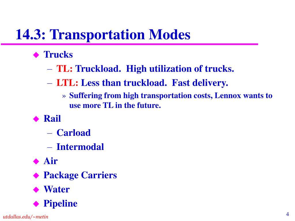 14.3: Transportation Modes