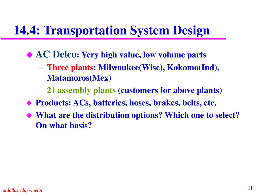 14.4: Transportation System Design