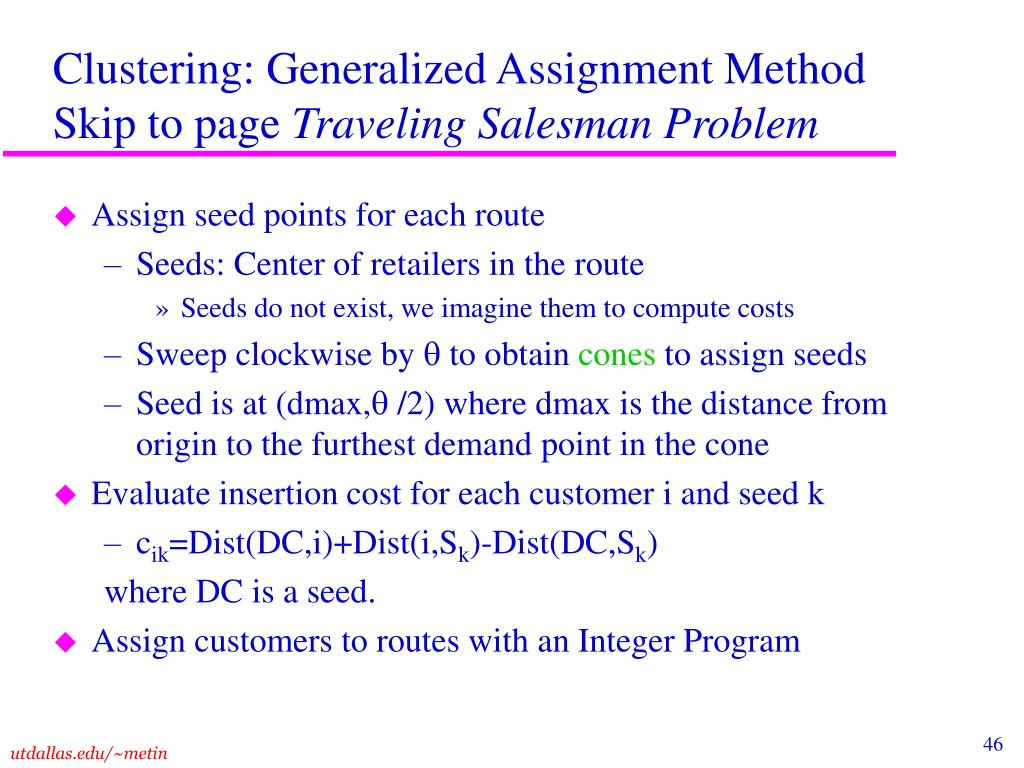 Clustering: Generalized Assignment Method