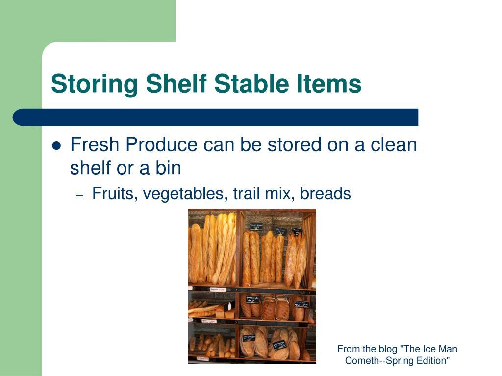 Storing Shelf Stable Items