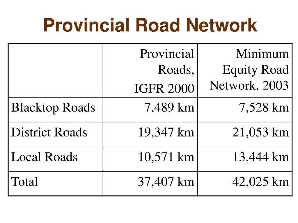 Provincial Road Network