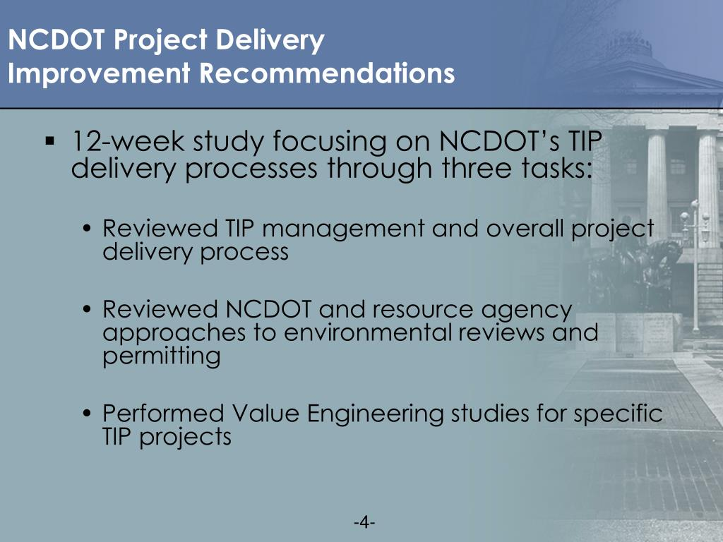 NCDOT Project Delivery