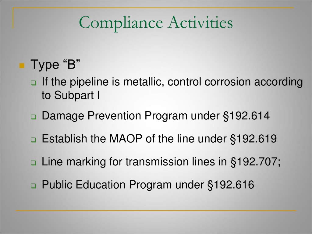Compliance Activities