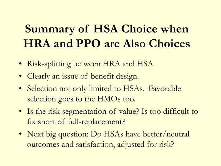 Summary of HSA Choice when HRA and PPO are Also Choices