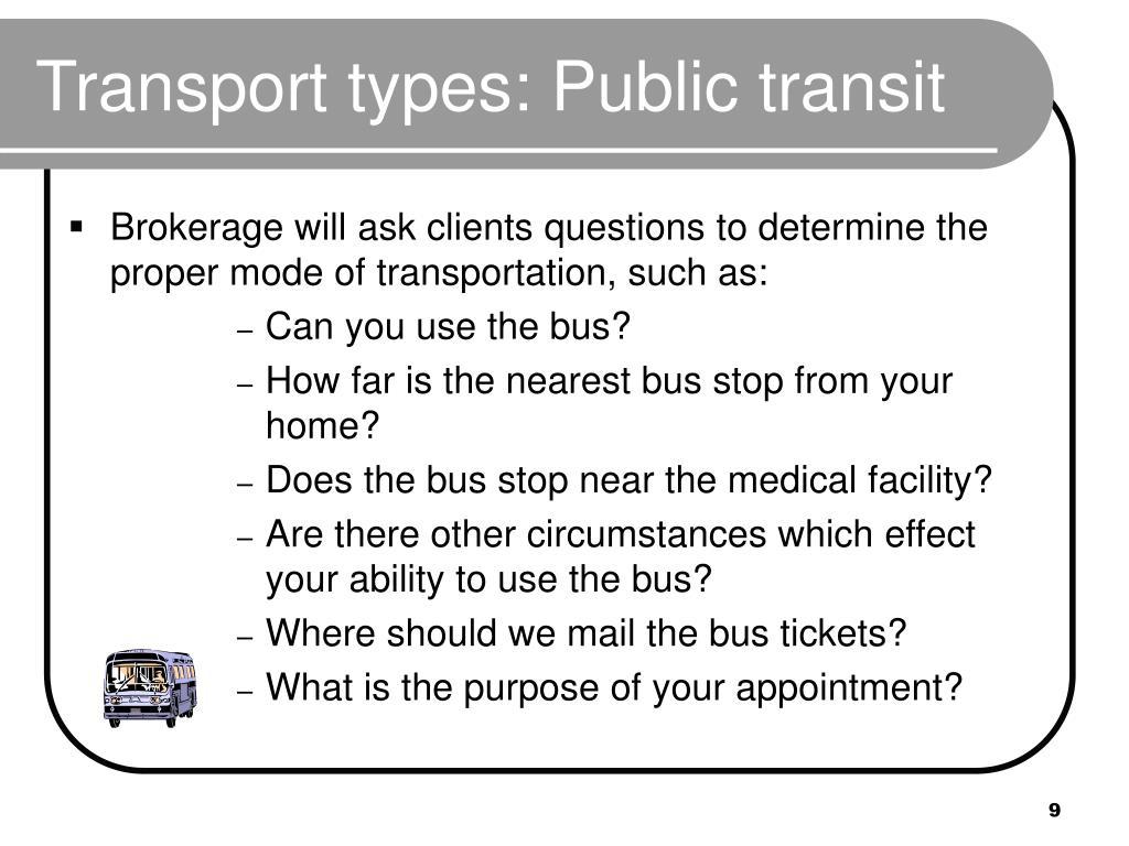 Transport types: Public transit