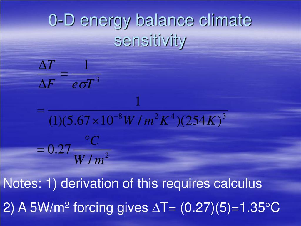 0-D energy balance climate sensitivity