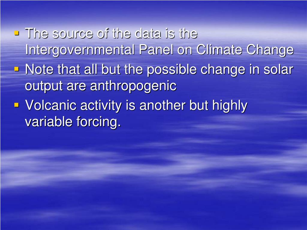 The source of the data is the Intergovernmental Panel on Climate Change