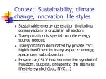 context sustainability climate change innovation life styles