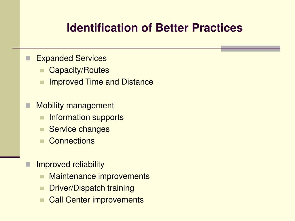Identification of Better Practices