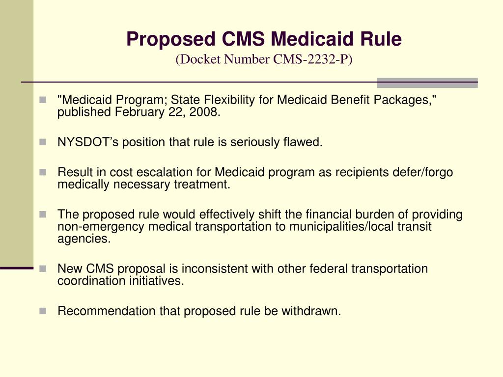 Proposed CMS Medicaid Rule
