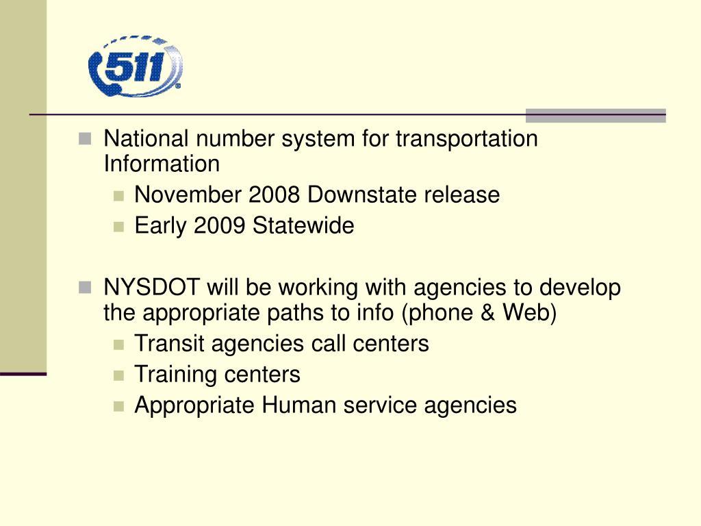 National number system for transportation Information