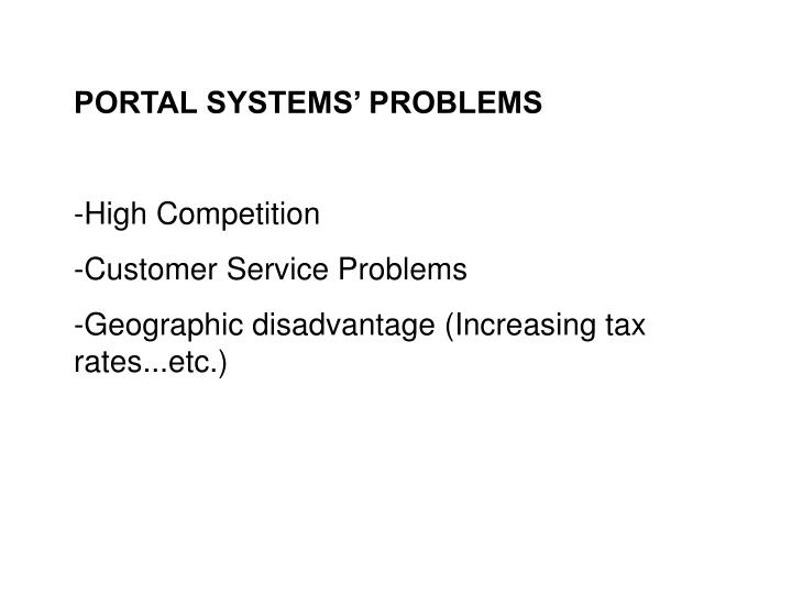 PORTAL SYSTEMS' PROBLEMS