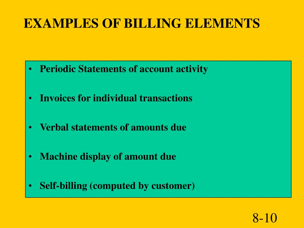 EXAMPLES OF BILLING ELEMENTS