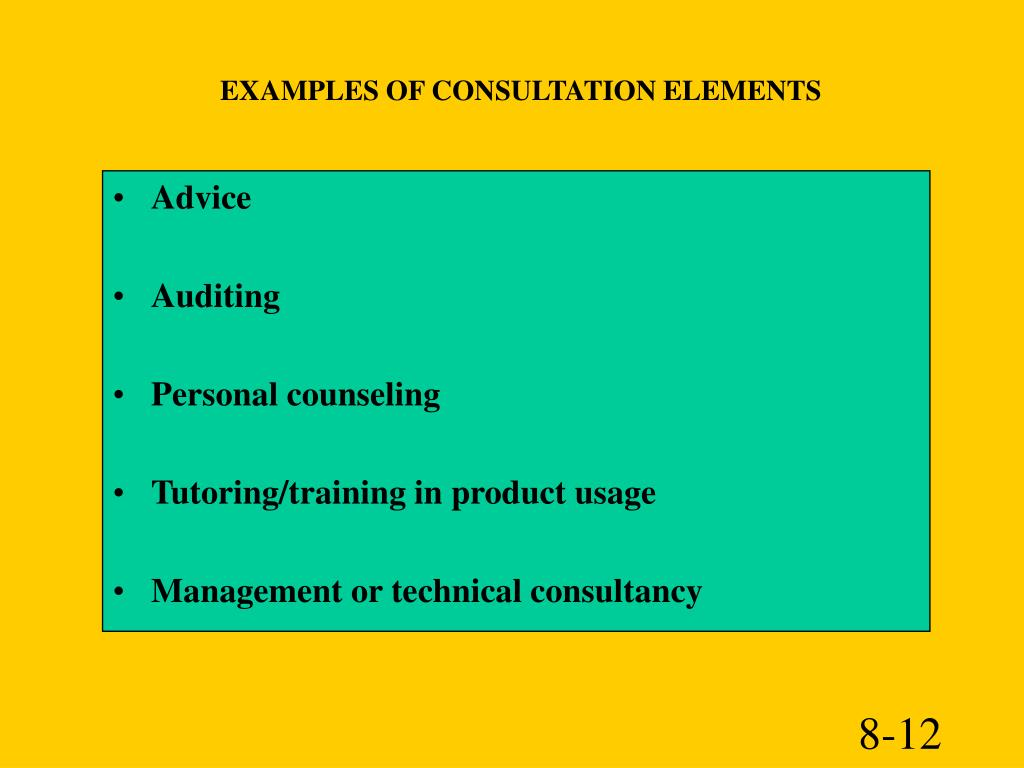 EXAMPLES OF CONSULTATION ELEMENTS