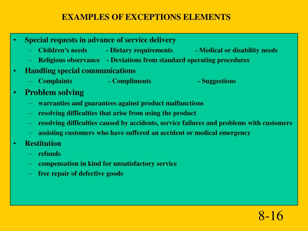 EXAMPLES OF EXCEPTIONS ELEMENTS