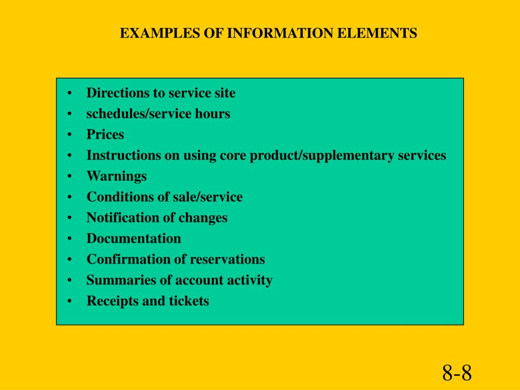 EXAMPLES OF INFORMATION ELEMENTS