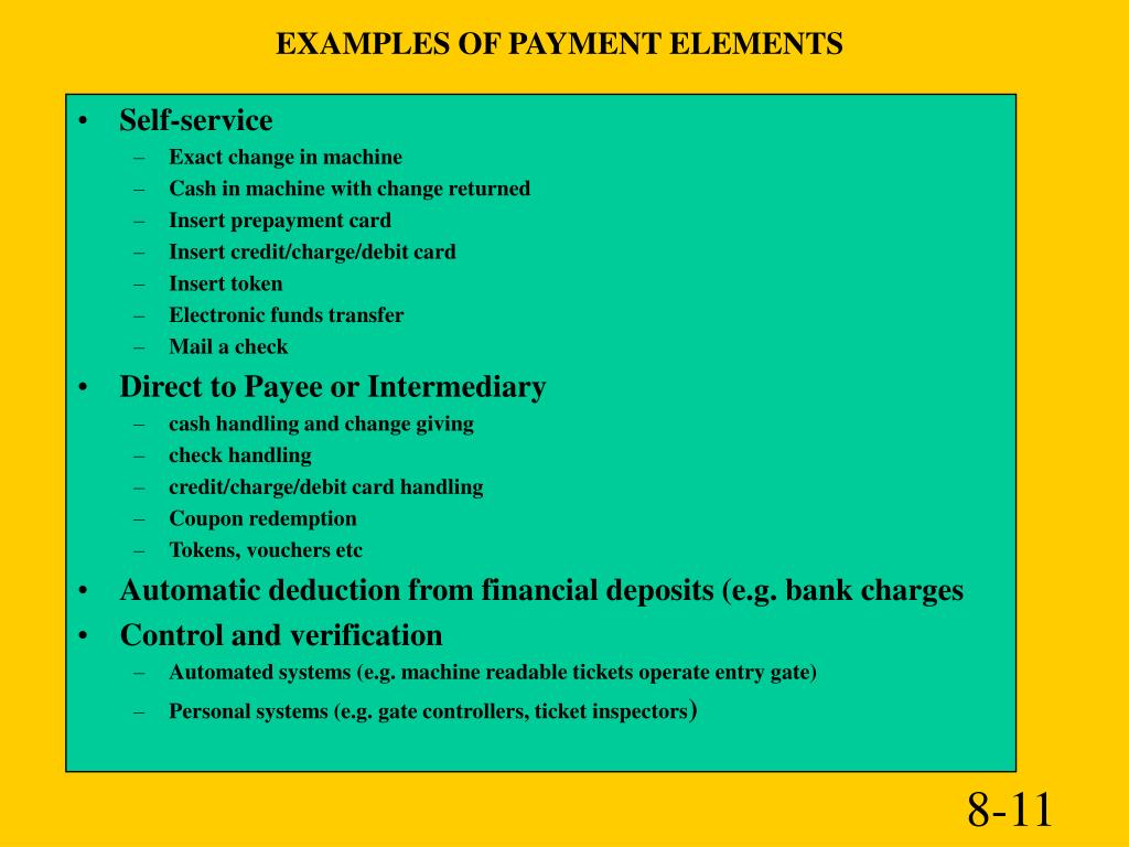 EXAMPLES OF PAYMENT ELEMENTS