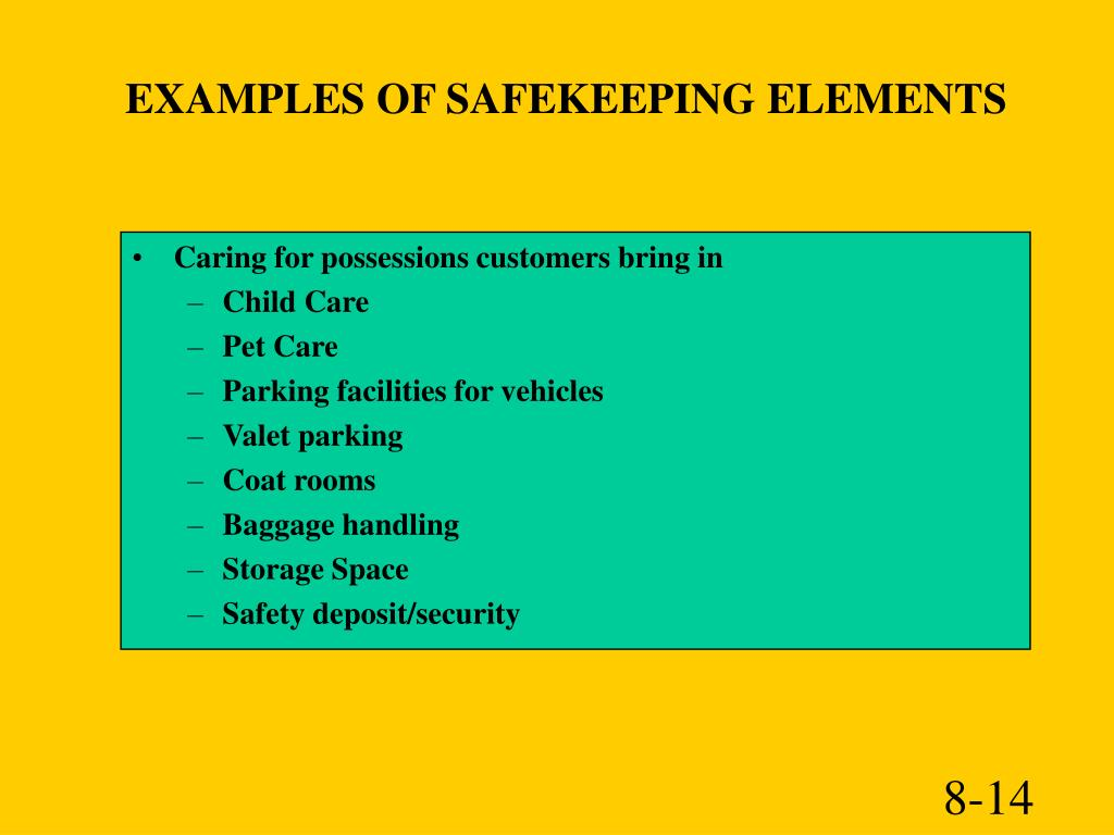 EXAMPLES OF SAFEKEEPING ELEMENTS