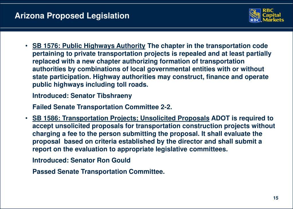 Arizona Proposed Legislation