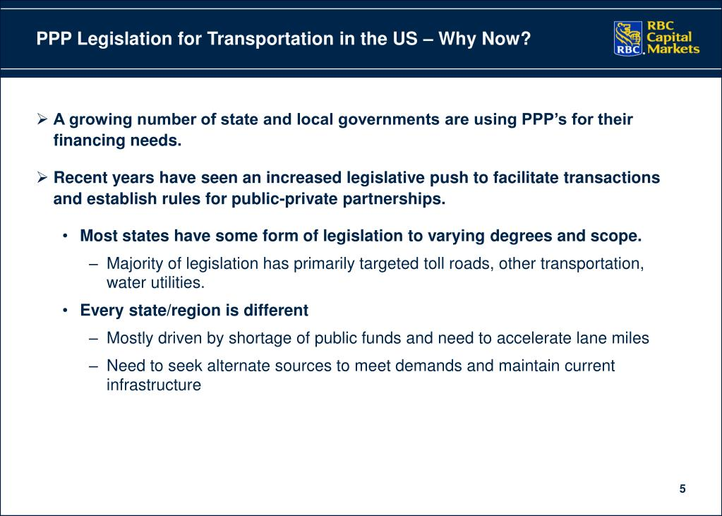 PPP Legislation for Transportation in the US – Why Now?