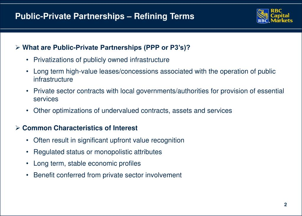 Public-Private Partnerships – Refining Terms