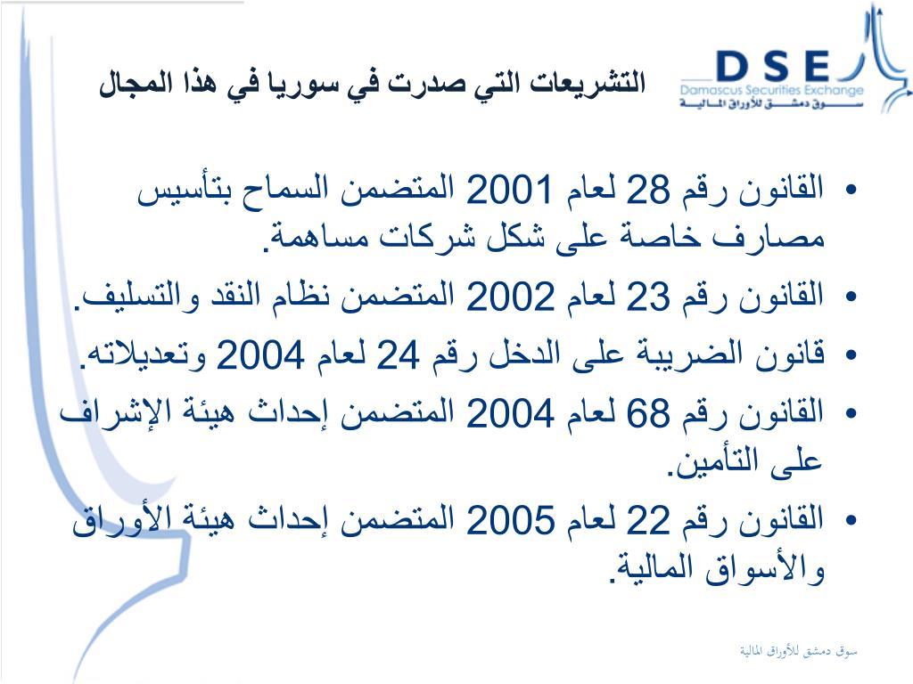 التشريعات التي صدرت في سوريا في هذا المجال